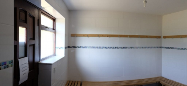 Interior of changing room for the Quartergreen sports pitch