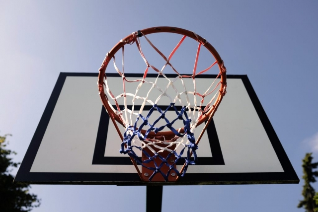 A basketball hoop and backboard