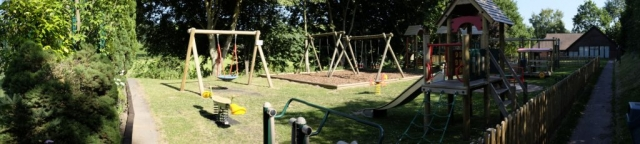 Panoramic view of the play area towards the hall.